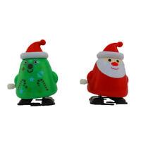 2 Pack Christmas Tree & Santa Wind Up Walking Novelty Gift Stocking Stuffer