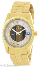 Croton Mens Pearl and Tiger Eye Dial Gold Tone St. Steel Bracelet Watch CN307190