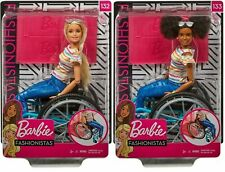 Barbie Fashionistas Doll & Wheelchair Toy - Blonde Black Brunette Hair