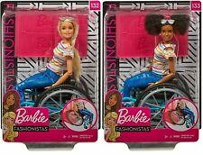 Muñeca Barbie Fashionistas & Juguete de silla de ruedas-Negro Rubio Pelo Morena