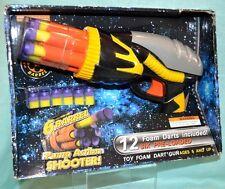 Toy 6 Barrel Pump ACTION Shooter Foam DARTS 6+ Toy GUN Rotating Orange Black NEW