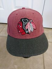 New Era 59fifty Chicago Blackhawks Fitted Hat Cap Rare Cotton MAROON/GRAY 7 1/4