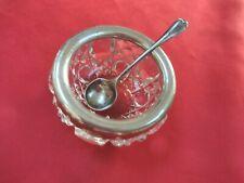 More details for vintage solid silver set  salt spoon and salt dish hallmarked l&s, mbros