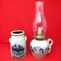 Vintage Salmon Falls Blueberry Basket Salt Glazed Stoneware Vase & Oil Lamp