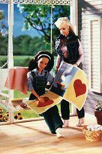 """ Making a Quilt "" - Fashion Collectible Photo Card Mattel --- Barbie Postcard"