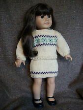 "18"" Doll Knitting Pattern will fit American Girl Sweater and Skirt"