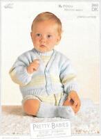 "Vintage Baby Knitting Pattern, Cardigan, Romper Suit, Socks, 16 - 22"", H2863"