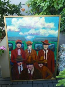 COOL 1970'S MOD PERIOD PAINTING OF 5 MEN WITH HATS