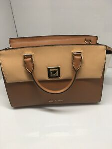 NWT New Michael Kors Sylvia Medium Top Zip Satchel in Tri-Color Leather $328