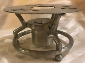 Rare Vintage / Mid-century Hammered Aluminum Sterno Stand Stove