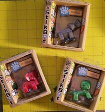 Lot of 3 Stikbot Safari Animals Lion Elephant and Rhino 3 Colors