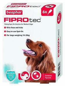 Beaphar Medium Dog Flea Treatment 10-20kg Spot On Fipronil 1,3 And 6 Treatments.