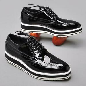 Men Lace Up Brogue Carved Platform Wedding Casual Shiny Patent Leather Shoes sz