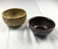 2 Asian Handmade Pottery Bowls Clay Brown Gold Vintage