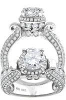 New Ladies White Gold Finish Lab Diamond 3 Row Halo Solitaire Engagement Ring