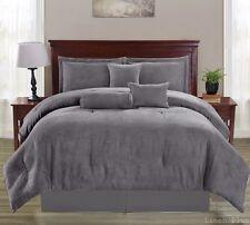 Gray Micro Suede Comforter Set Queen Size 7 Piece At LinenPlus DP6