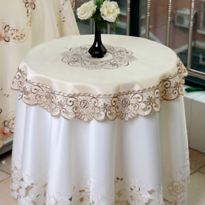 Embroidered Floral Lace Tablecloth Round Table Cloth Cover Topper Wedding 33inch