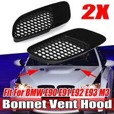 2x Black Front Bonnet Hood Vent Louvers For BMW E90 E91 E92 E93 M3 1988-2018