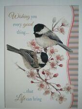 """WISHING YOU...""BLACK-CAPPED CHICKADEES BIRTHDAY GREETING CARD+DESIGNER ENVELOPE"