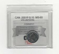 **2001P Volunteers**,  Coin Mart  Graded Canadian,  10  Cent, **MS-65**