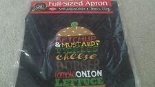 NIP Men's Cooking Grilling Apron Cheese Hamburger Fixins List Fun Gr8 4 Dad!