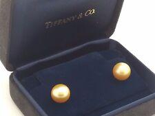 Tiffany & Co. 18k 750 Yellow Gold 10' mm Golden South Sea Pearl Stud Earrings