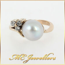 Solid 9K 9ct 9kt Yellow Gold Dress With Pink Overtone Pearl and Diamonds Sz M
