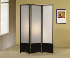 Black Folding Screen Divider with Smoke Glass Like Panels by Coaster  900120