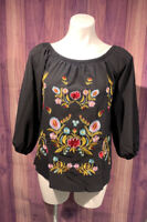 Womans Small Black Boho Embroidered Floral Print 3/4 Sleeve