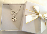 Personalised girls ladies silver Necklace choose message charm GIFT BOXED