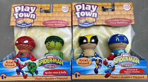 Play Town Marvel Spider-man, Hulk, Captain America Wolverine Figures Real Wood