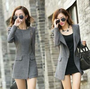 Womens Wool Blend Slim Jacket Parka Coat Long Cardigan Trench Formal Fashion SZ