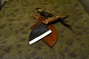Brussel Handmade D2 Steel Olive Wood Hammered Hunting Clever Chopper Axe Knife