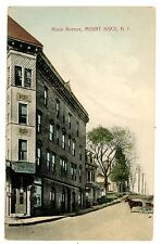 Mount Kisco NY - VIEW UP KISCO AVENUE FROM HOTEL ELWOOD -Handcolored Postcard MT