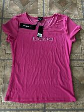 NWT BEBE WOMEN'S LOGO SHORT SLEEVE TOP STRETCHY SIZE  Large Pink $49
