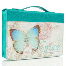 """Bible Cover Grace Teal Butterfly Large 7"""" x 10 1/8"""" x 1 7/8"""" Ephesians 2:8"""