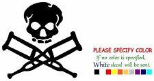 "Jackas Skull & Crutches Vinyl Decal Sticker Car Window Bumper Wall Laptop 6"""