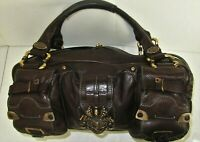 Juicy Couture Brown Leather X-Large Satchel Duffle Bag Purse or Shoulder Tote