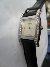 HENLEY CURVED WATCH LEATHER STRAP JEWELLED WRISTWATCH WITH ANTI ALLERGIC T0082
