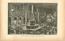 Eclairage électrique du jardin du palais de Milan Italie GRAVURE OLD PRINT 1884