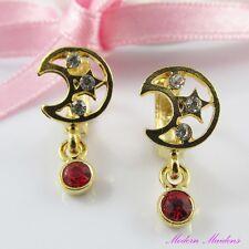 Gold Filled Rhinestone Crescent Moon Earrings