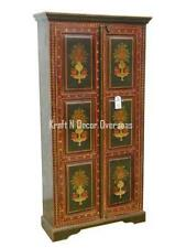 KraftNDecor Artistic Wooden Almira with Handmade Painting in Brown Colour
