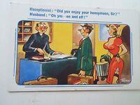 Comic Vintage Tarjeta Postal HONEYMOON HUMOR Artista Firmado Trow 725 SIN USAR