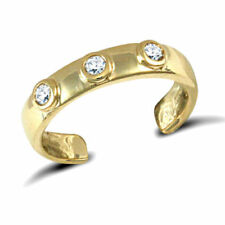 Stone Toe Ring Fully Hallmarked 9ct Solid Yellow Gold Trilogy Three