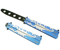 Blue Scorpion Black Blade Dull METAL Practice BALISONG BUTTERFLY Knife Trainer