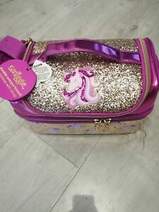 Smiggle double decker lunch bag/box Girls Gold sparkling unicorn
