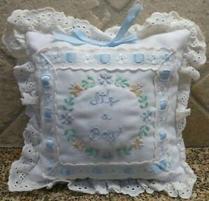 VTG House of Hatten It's a Boy Musical Pillow WORKS! Embroidery Eyelet Ribbon