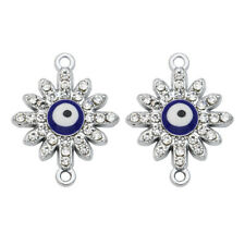 10pcs Silver Crystal Sun Evil Eye Charm Connector for Making Bracelet Findings