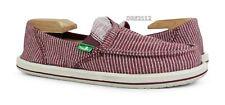 Sanuk Pick Pocket Stripes Red White Stripes Shoes Womens Size 7 *NEW*