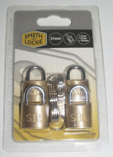 LOT 4 CADENAS INOX 21MM PADLOCK SMITH & LOCK NEUF